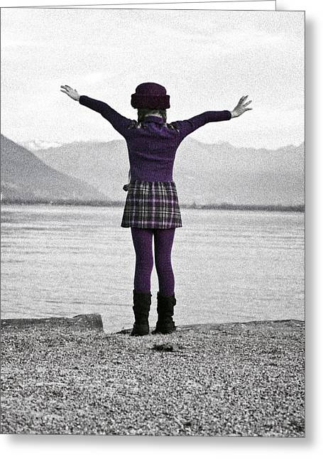 Noise Greeting Cards - Girl on the shores of Lake Maggiore Greeting Card by Joana Kruse