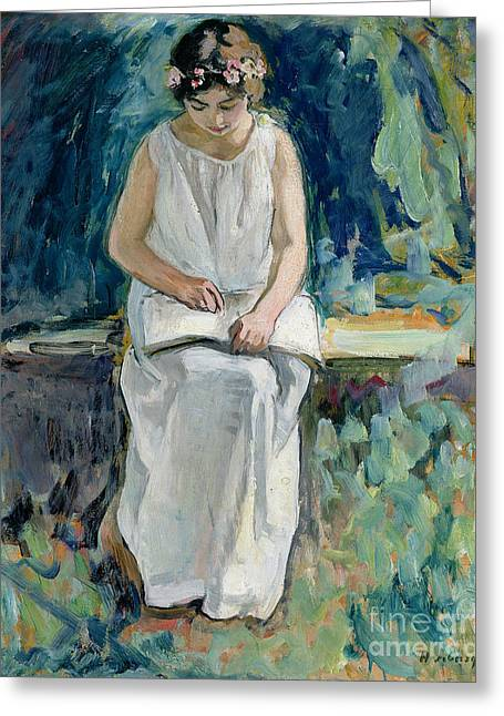 Jeunes Filles Greeting Cards - Girl Reading Greeting Card by Henri Lebasque