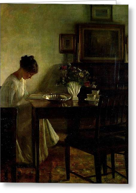 Table Greeting Cards - Girl Reading in an Interior  Greeting Card by Carl Holsoe