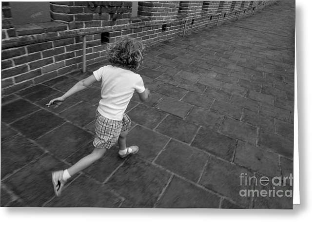 Surrounding Wall Greeting Cards - Girl running away on Great Wall of China Greeting Card by Sami Sarkis