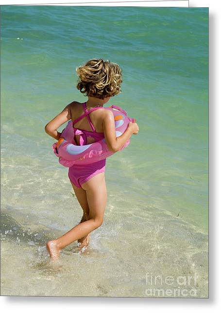 One Piece Swimsuit Greeting Cards - Girl running into water on beach Greeting Card by Sami Sarkis