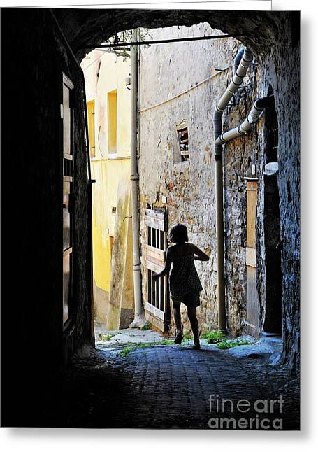 Children Only Greeting Cards - Girl running through a cobblestone street Greeting Card by Sami Sarkis
