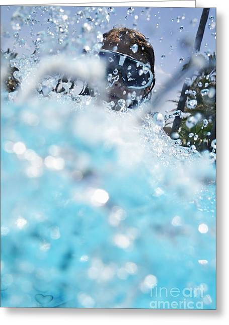 Sami Sarkis Greeting Cards - Girl splashing water in swimming pool Greeting Card by Sami Sarkis