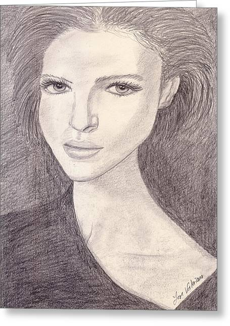 Graphite Greeting Cards - Girl Stare Greeting Card by Jose Valeriano