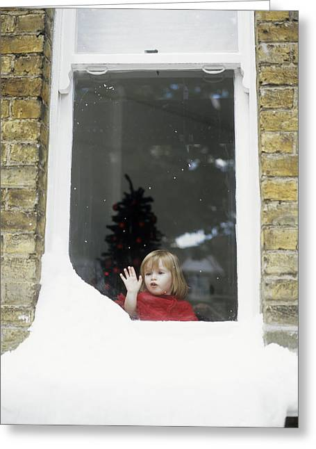 Window Ledge Photographs Greeting Cards - Girl Staring Out Of Snowy Window Greeting Card by Ian Boddy