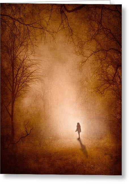 Fog Mist Mixed Media Greeting Cards - Girl Greeting Card by Svetlana Sewell