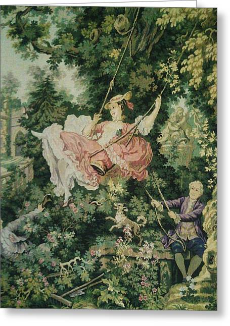 Outside Tapestries - Textiles Greeting Cards - Girl Swinging Tapestry Greeting Card by Unique Consignment