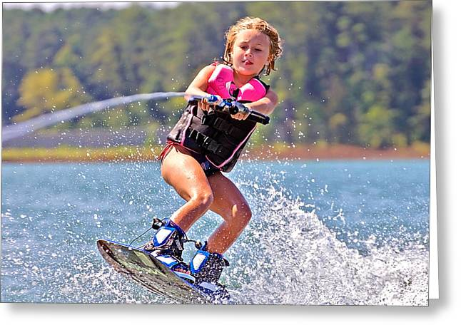 Girl Trick Skiing Greeting Card by Susan Leggett