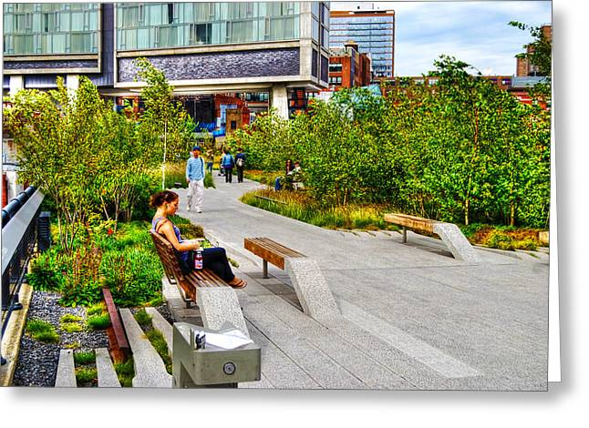 Girl Uninterrupted on the High Line Greeting Card by Randy Aveille