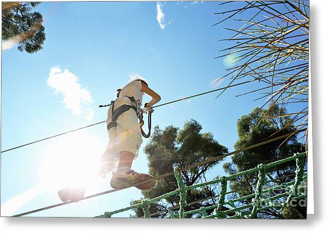 Children Only Greeting Cards - Girl walking on suspended footbridge Greeting Card by Sami Sarkis