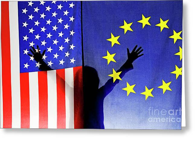Children Only Greeting Cards - Girl waving hands behind US and European Union flags Greeting Card by Sami Sarkis