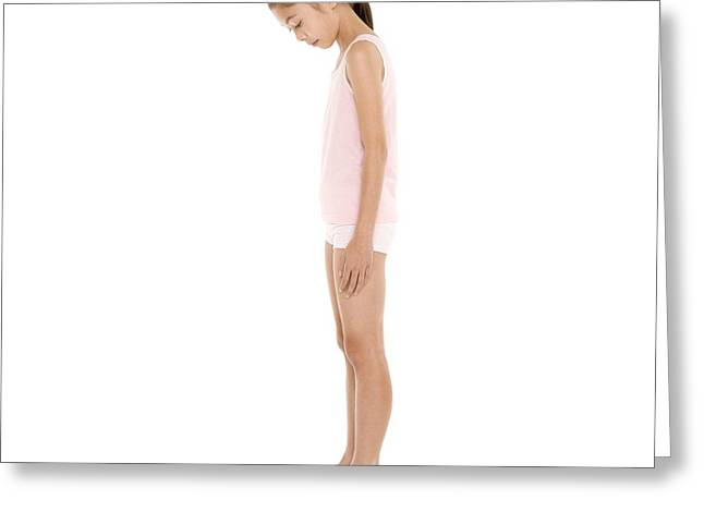 Body Conscious Greeting Cards - Girl Weighing Herself Greeting Card by
