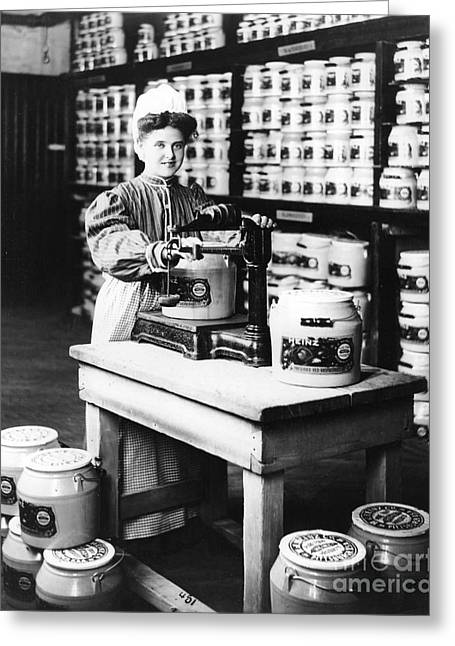 Female Worker Greeting Cards - Girl Weighing Preserves Greeting Card by Photo Researchers, Inc.