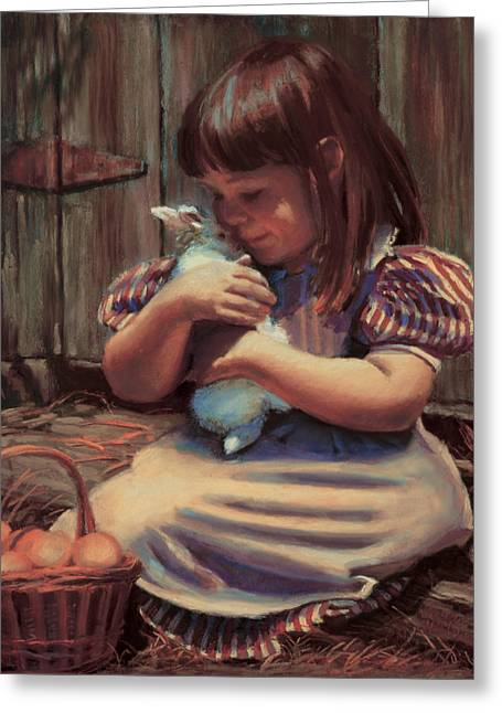 Farms Greeting Cards - Girl with a Bunny Greeting Card by Jean Hildebrant