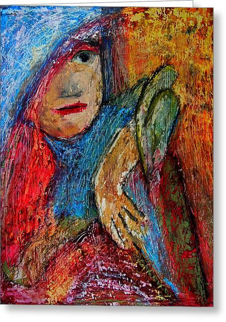Parrot Art Print Greeting Cards - Girl with a Green Parrot  Greeting Card by Tammy Cantrell