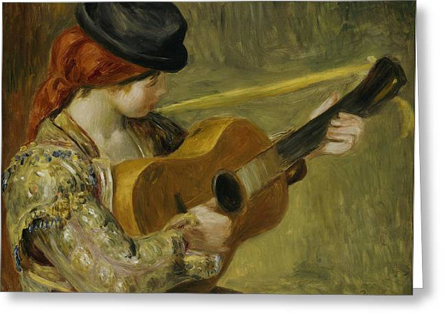 Hat Paintings Greeting Cards - Girl with a Guitar Greeting Card by Pierre Auguste Renoir