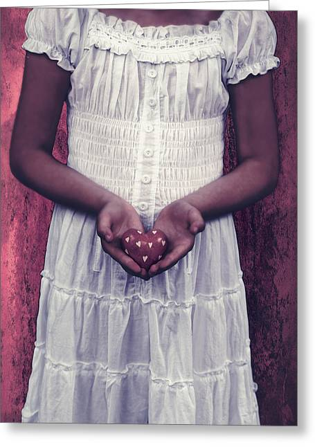 Girl With A Heart Greeting Card by Joana Kruse