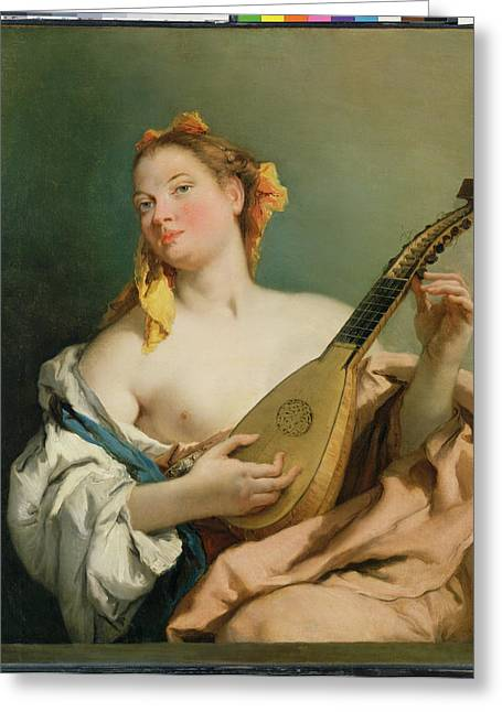 Sense Greeting Cards - Girl with a Mandolin Greeting Card by Giovanni Battista Tiepolo