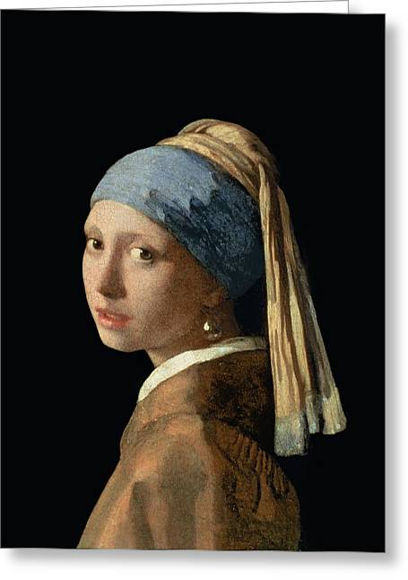 Vermeer Paintings Greeting Cards - Girl with a Pearl Earring Greeting Card by Jan Vermeer