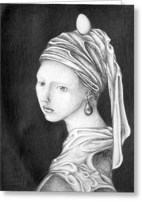 Girl With A Pearl Earring Greeting Cards - Girl With A Pearl Egg Greeting Card by Sheridan Furrer