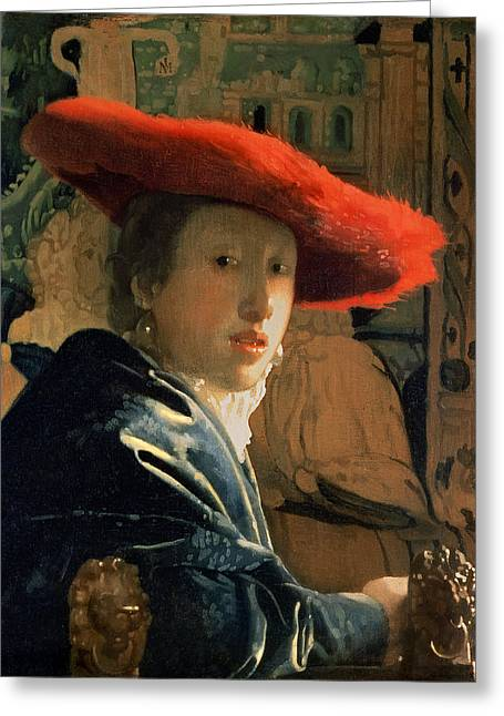Vermeer Paintings Greeting Cards - Girl with a Red Hat Greeting Card by Jan Vermeer