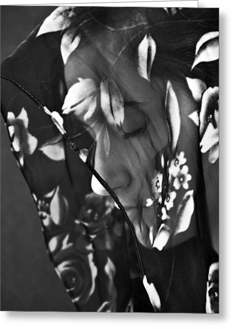 Sullen Greeting Cards - Girl With A Rose Veil 1 BW Greeting Card by Angelina Vick