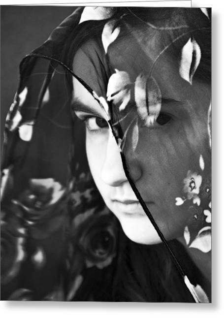 Sullen Greeting Cards - Girl With A Rose Veil 2 BW Greeting Card by Angelina Vick