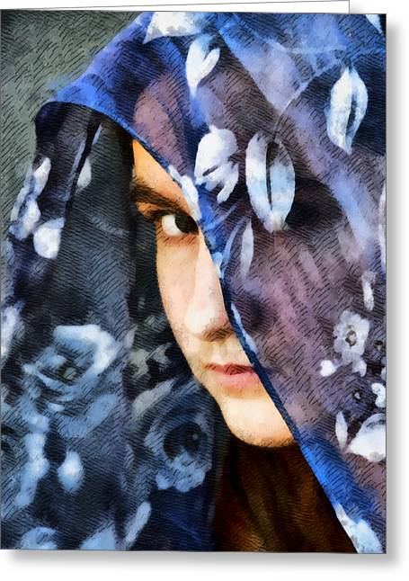 Sullen Greeting Cards - Girl With A Rose Veil 2 Illustration Greeting Card by Angelina Vick