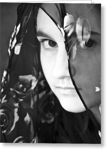Sullen Greeting Cards - Girl With A Rose Veil 3 BW Greeting Card by Angelina Vick
