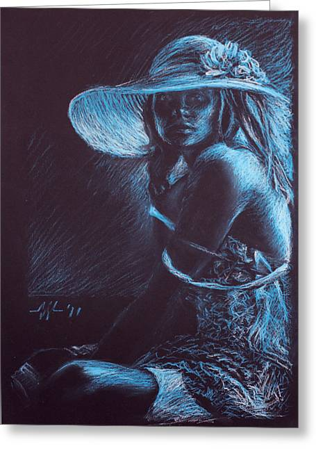 Garment Pastels Greeting Cards - Girl with a white hat Greeting Card by Christo Wolmarans