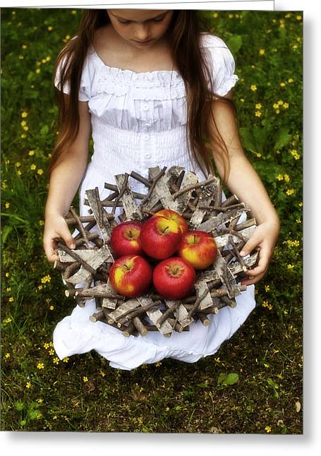 Knelt Photographs Greeting Cards - Girl With Apples Greeting Card by Joana Kruse