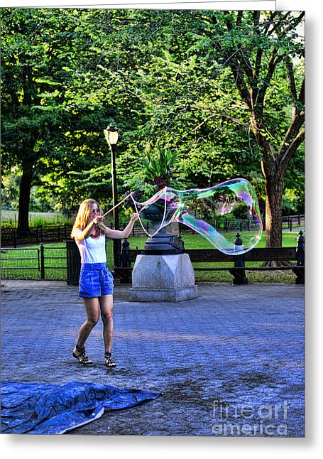 Get Greeting Cards - Girl with big bubbles Greeting Card by Paul Ward