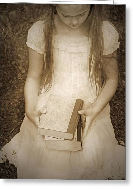 Knelt Photographs Greeting Cards - Girl With Books Greeting Card by Joana Kruse