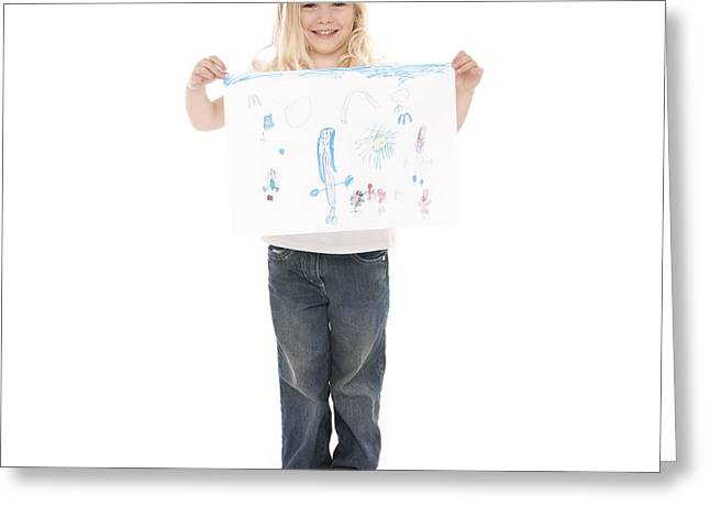 4-5 Years Greeting Cards - Girl With Drawing Greeting Card by