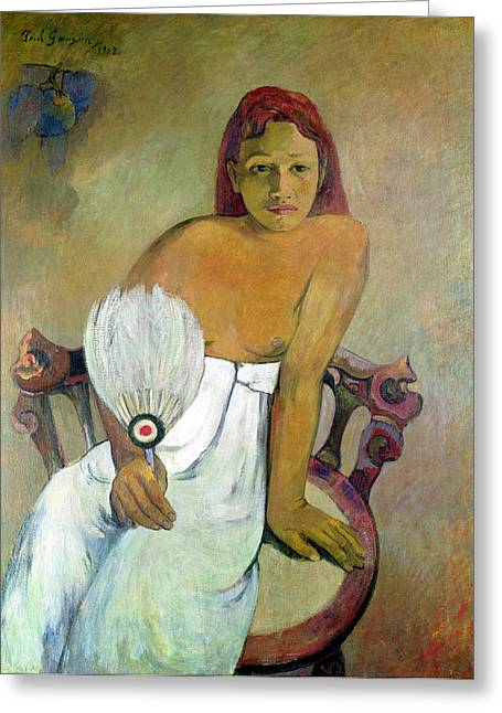Tahiti Greeting Cards - Girl with fan Greeting Card by Paul Gauguin
