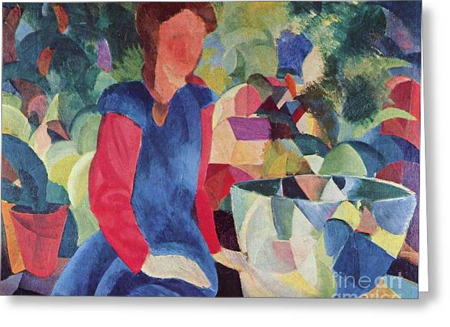 Macke Greeting Cards - Girl with Fishbowl Greeting Card by Pg Reproductions