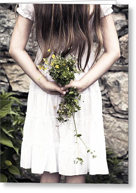 Individuals Greeting Cards - Girl With Flowers Greeting Card by Joana Kruse