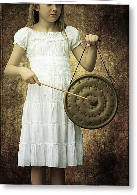 Girl With Gong Greeting Card by Joana Kruse