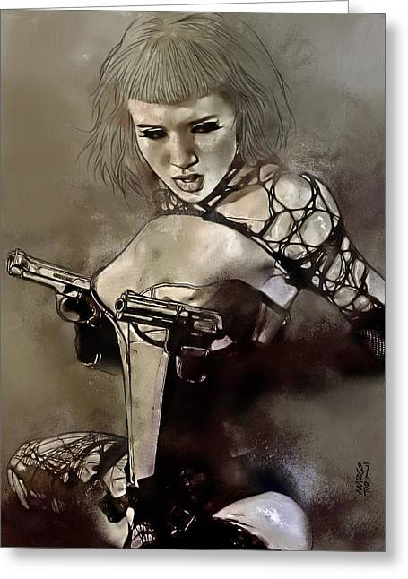 Girl With Guns Greeting Card by Marco Turini