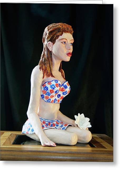 Symbol Sculptures Greeting Cards - Girl with lotus 3 Greeting Card by Yelena Rubin
