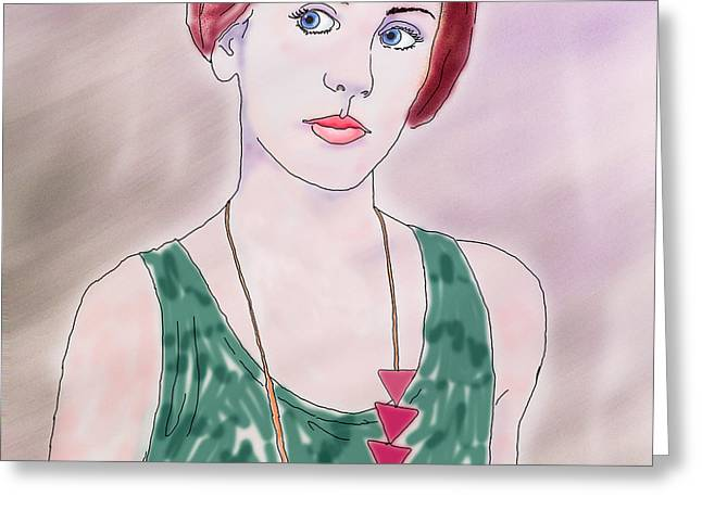 Pale Complexion Greeting Cards - Girl With Necklace Greeting Card by Ginny Schmidt
