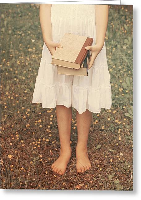 Girl With Old Books Greeting Card by Joana Kruse
