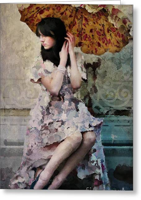 Person Greeting Cards - Girl with Parasol Greeting Card by Elena Nosyreva