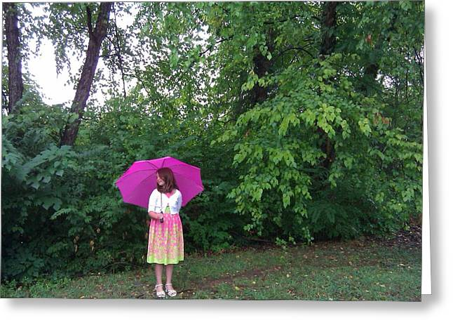B L Qualls Greeting Cards - Girl with Pink Umbrella Greeting Card by B L Qualls