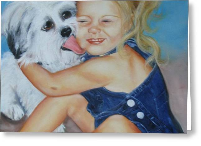 Girl with Puppy Greeting Card by Joni McPherson