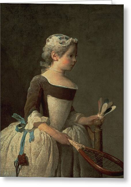 18th Century Greeting Cards - Girl with Racket and Shuttlecock Greeting Card by Jean-Baptiste Simeon Chardin