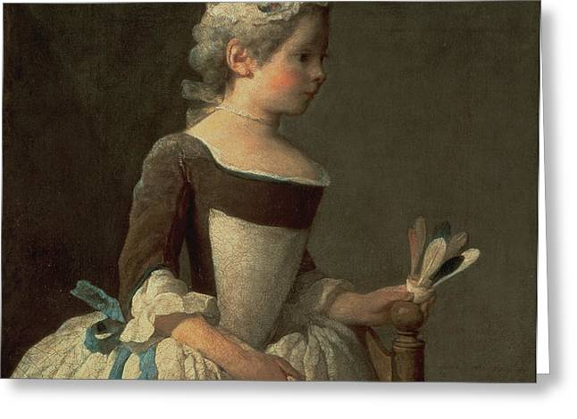 Girl with Racket and Shuttlecock Greeting Card by Jean-Baptiste Simeon Chardin
