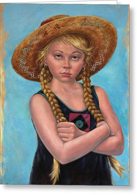 Blonde Girl Greeting Cards - Girl with Straw Hat Greeting Card by Harvie Brown