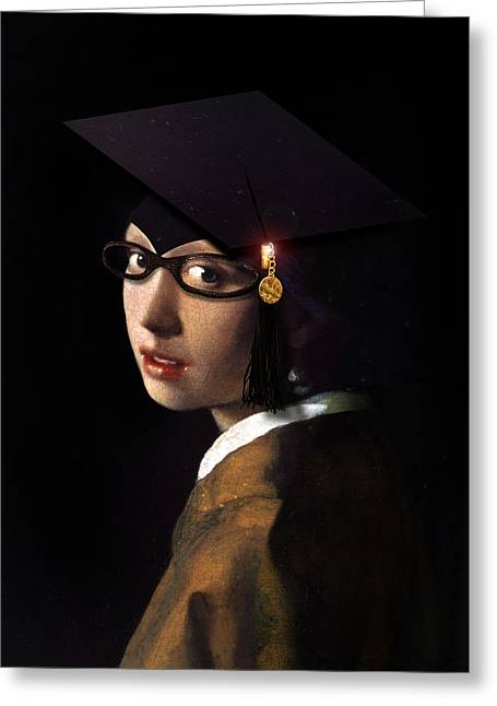 Vermeer Paintings Greeting Cards - Girl with the Grad Cap Greeting Card by Gravityx Designs