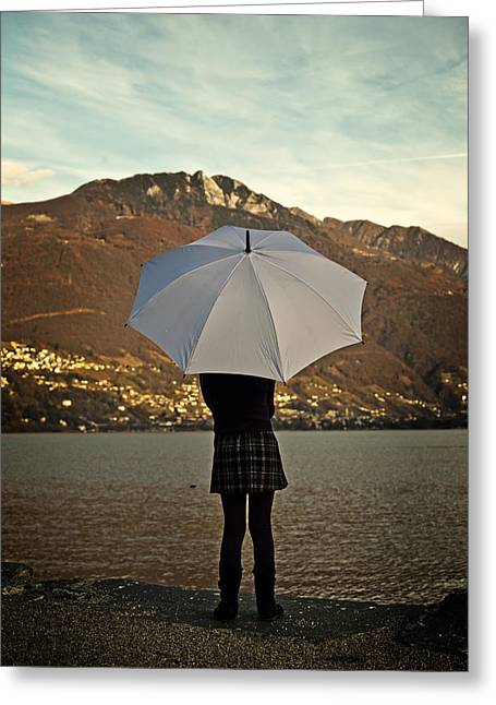 Pigtails Greeting Cards - Girl With Umbrella Greeting Card by Joana Kruse